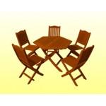 ကြ်န္းျဖင့္ ျပဳလုပ္ထားသည့္ ေလးေထာင့္ စားပြဲ နွင့္ ဒီဇို္င္းဆန္းသည့္ ေခါက္ ကုလားထိုင္ ( Teak Rectangular Table with Folding Chair )