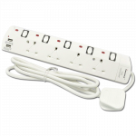 4 WAY 2M EXTENSION LEAD USB PORT PORTABLE SOCKET